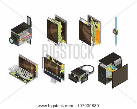 Colored gadgets scheme isometric icon set with computer reserve parts and microcircuit vector illustration