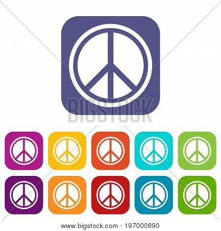 Sign hippie peace icons set vector illustration in flat style in colors red, blue, green, and other