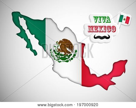illustration of Mexico map in Mexico flag background and mustache with Viva Mexico Text on the occasion of Mexico Independence Day