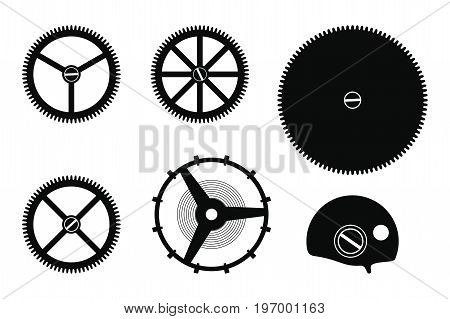 Set of details clock mechanism assembly isolated on a white background.