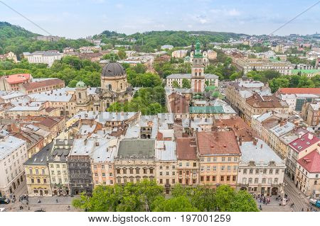 View from the Lviv Town Hall Tower over the city and it's churches