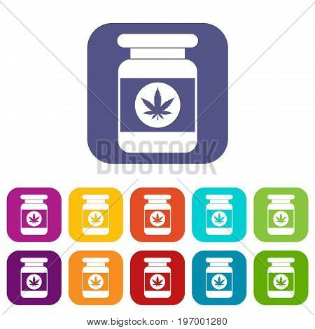 Jar of powder marijuana icons set vector illustration in flat style in colors red, blue, green, and other