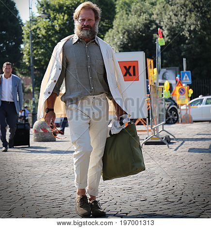 FLORENCE- 13 June 2017 Carlos Castillo on the street during the Pitti