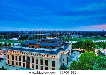 Columbus, Ohio  city hall overlooks the Scioto river downtown.