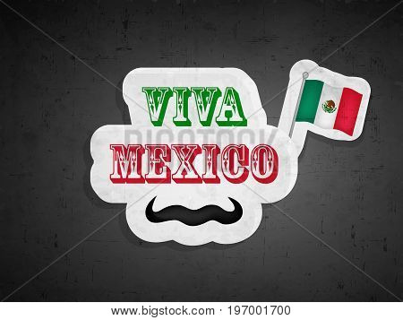 illustration Mexico flag and Mustache with Viva MexicoText on the occasion of Mexico Independence Day