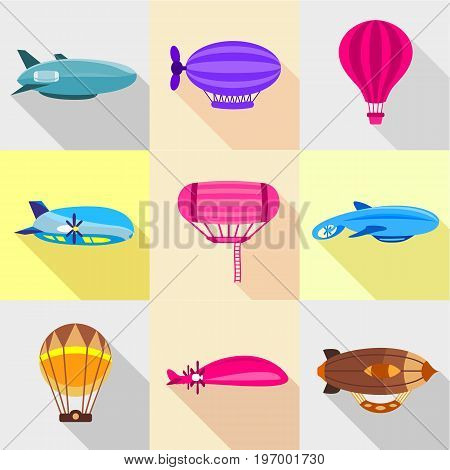 Retro dirigibles icons set. Flat set of 9 retro dirigibles vector icons for web with long shadow