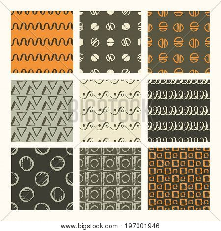 Set of 9 styled, ultimate hand drawn seamless textures. Drawn with brush and ink and then digitized into vector.