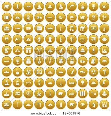 100 world tour icons set in gold circle isolated on white vector illustration