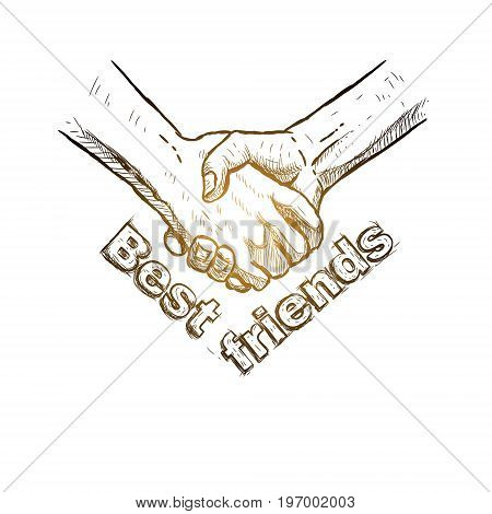 Sketch of handshake. Friendship day design. Hand drawn hands. Vector illustration