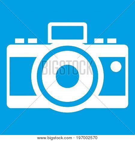 Photocamera icon white isolated on blue background vector illustration