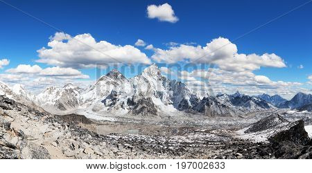 himalaya panoramic view of himalayas mountain Mount Everest with beautiful sky and Khumbu Glacier - way to Everest base camp Khumbu valley Sagarmatha national park Nepalese himalayas