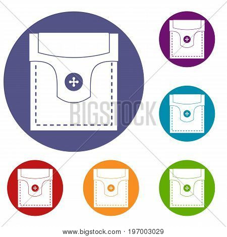 Valve pocket with button icons set in flat circle red, blue and green color for web