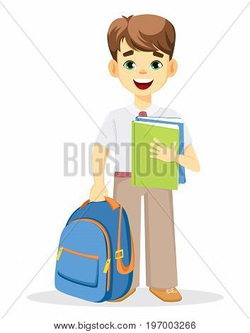 Schoolboy with backpack and textbook. Coming back to school. Cute smiling boy. Cartoon character. Vector illustration.