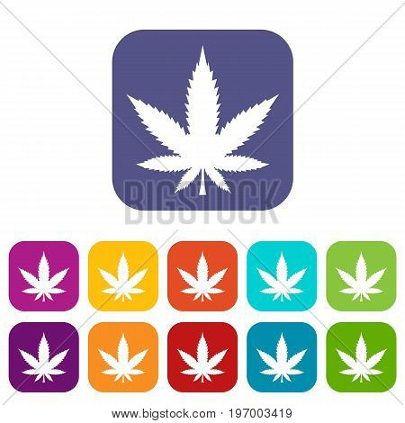 Cannabis leaf icons set vector illustration in flat style in colors red, blue, green, and other
