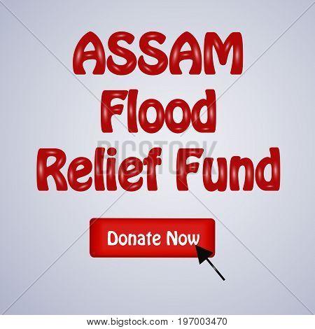 illustration of Assam Flood Relief Fund text on Assam flood calamity