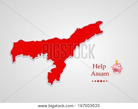 illustration of Assam map and piggy bank with Help Assam on Assam flood calamity