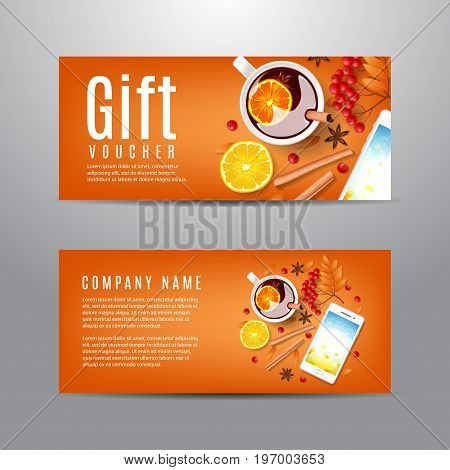 Gift voucher with autumn composition. Unusual design of coupon usable for invitation and ticket. Top view on cinnamon sticks, cup of mulled wine, rowan on orange backdrop. Vector illustration.