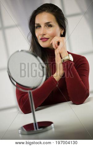 Portrait of nice, long hair woman