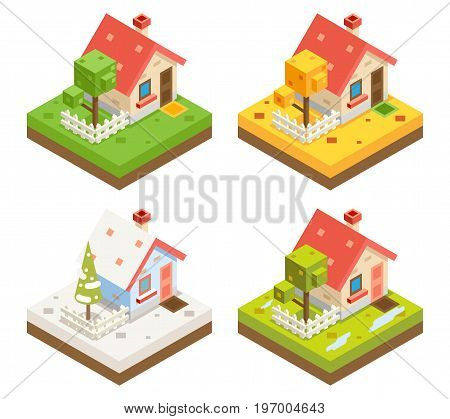 Isometric House 3d Icon Estate Real Symbol Meadow Season 3d isometric Background Design Vector Illustration