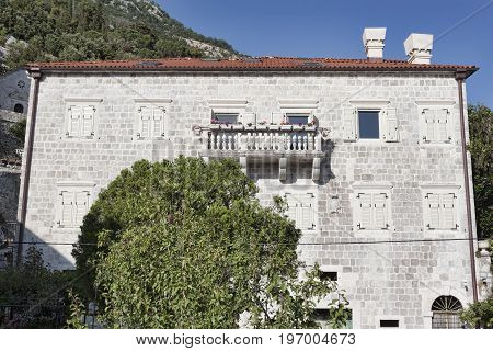 Traditional architecture of residential buildings on the coast of Boka-Kotorska Bay