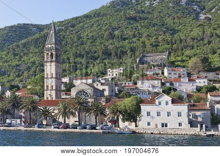 PERAST MONTENEGRO - JUNE 27 2017: 55 meter high bell tower of St. Nicholas Church - the highest on the coast