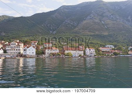 Small Town Prcan  On The Shore Of The Kotor Bay