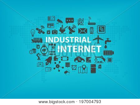Industrial Internet (IOT) concept with world map and icons of connected devices with blue background