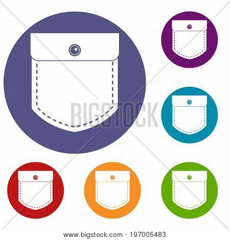 Black jeans pocket icons set in flat circle red, blue and green color for web