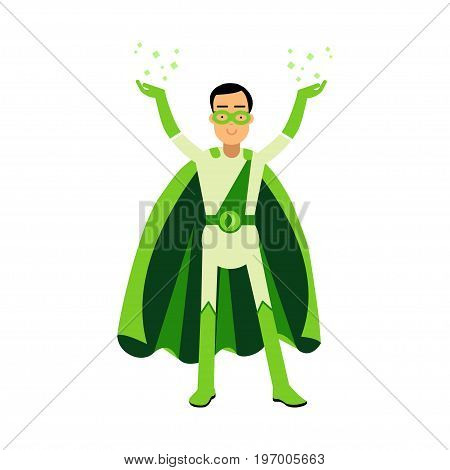 Ecological green superhero man standing with his hands up, eco concept vector Illustration on a white background