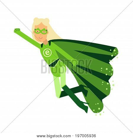 Ecological superhero blonde woman in green costume flying through the air in superhero pose with outstretched hand, eco concept vector Illustration on a white background