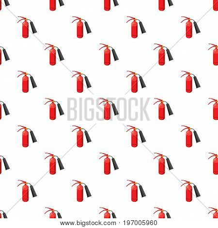 Fire extinguisher pattern seamless repeat in cartoon style vector illustration