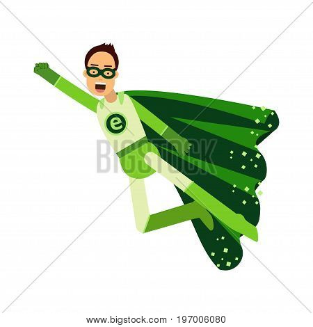 Ecological superhero man in green costume flying through the air in superhero pose with outstretched hand, eco concept vector Illustration on a white background