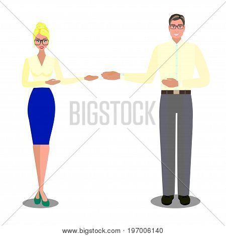 Man in spectacles and woman in glasses and in blue skirt and in mint shoes on heels near screen with chart