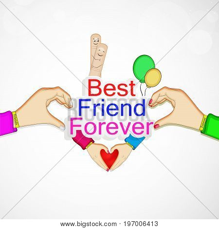 illustration of elements of  hands, balloons and fingers with best friend forever text on the occasion of friendship day