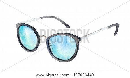 Watercolor sunglasses isolated on white background hand drawn illustration.