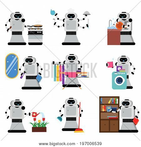 Robots assistants helping people in housework duties set, artificial intelligence vector Illustrations isolated on white background