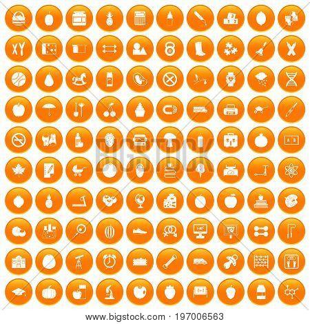 100 apple icons set in orange circle isolated on white vector illustration