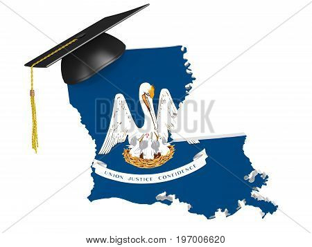 Louisiana state college and university education concept, 3D rendering