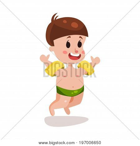 Cute happy boy jumping with inflatable armbands, kid ready to swim colorful character vector Illustration on a white background