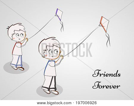 illustration of boys flying kite with friends forever text on the occasion of friendship day