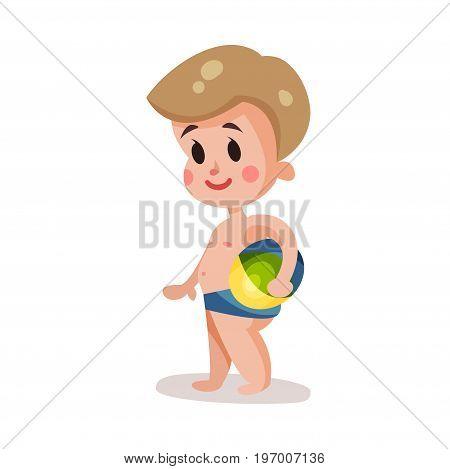 Little boy wearing shorts for swimming playing with a ball, kid having fun on the beach colorful character vector Illustration on a white background