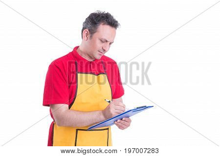 Hypermarket Seller Looking Over Products Checklist