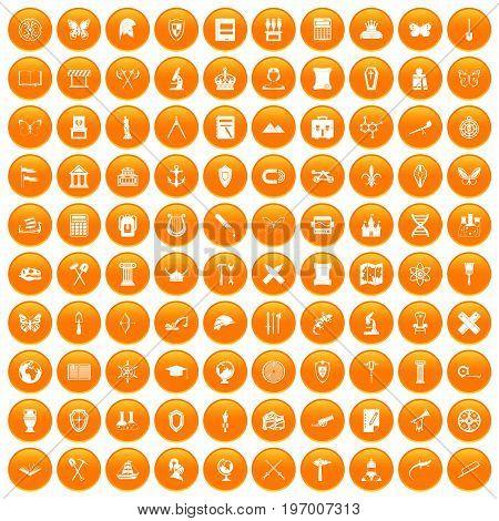 100 archeology icons set in orange circle isolated on white vector illustration