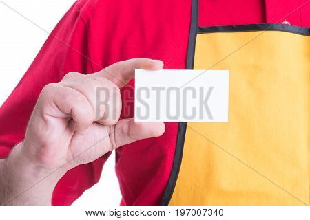 Hypermarket Employee Holding Empty Business Card