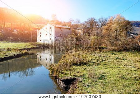 Autumn Landscape Of The Countryside: Old Non-working Watermill N