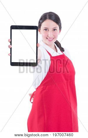 Happy Young Sales Clerk Holding Modern Tablet