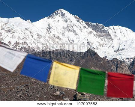 Mount Cho Oyu with prayer flags - way to Cho Oyu base camp gokyo valley Everest area Sagarmatha national park Khumbu valley Nepal