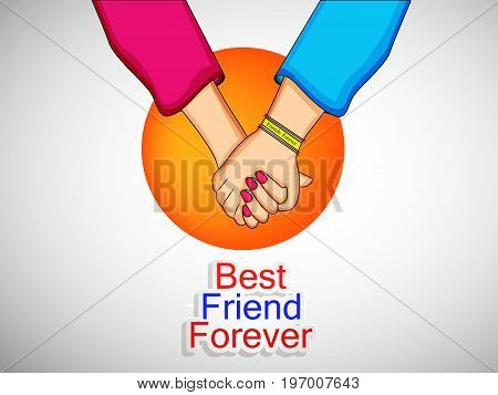 illustration of hands with best friend forever text on the occasion of friendship day