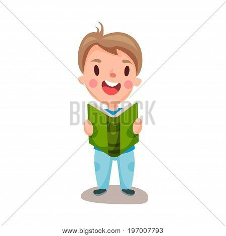 Cute happy boy reading a book, education and knowledge concept, colorful character vector Illustration on a white background