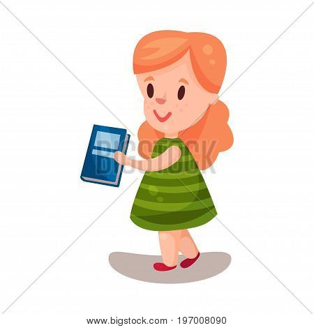 Adorable beautiful girl with a book, education and knowledge concept, colorful character vector Illustration on a white background